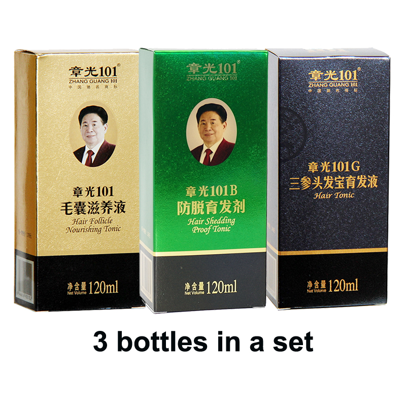 World famous ZhangGuang <font><b>101</b></font> <font><b>hair</b></font> growth products set 3 bottles <font><b>hair</b></font> tonic anti <font><b>hair</b></font> loss oil control Guaranteed 100% genuine image