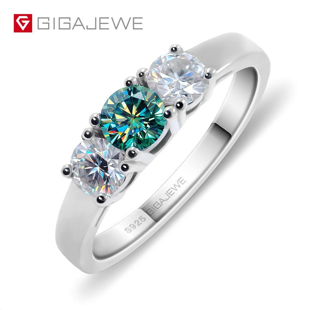 GIGAJEWE 0.8ct Total EF/VVS1 Verde Rodada Excelente Corte de Diamante Moissanite Teste Passou 925 Anel de Prata Jóias de Presente Namorada