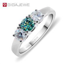 GIGAJEWE مجموع 1.0ct EF/الأخضر VVS1 الجولة ممتازة قطع الماس اختبار مرت مويسانيتي 925 خاتم فضة صديقة هدية