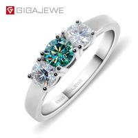GIGAJEWE Total 0.8ct EF/Green VVS1 Round Excellent Cut Diamond Test Passed Moissanite 925 Silver Ring Jewelry Girlfriend Gift