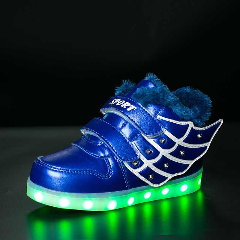 KRIATIV 2018 Inverno Quente Tamanho Eur 25-37 Cesta de Menina & do menino Sneakers Luminosos Brilhantes Tênis Levou Luz Para Cima sapato Levou Tênis Garoto