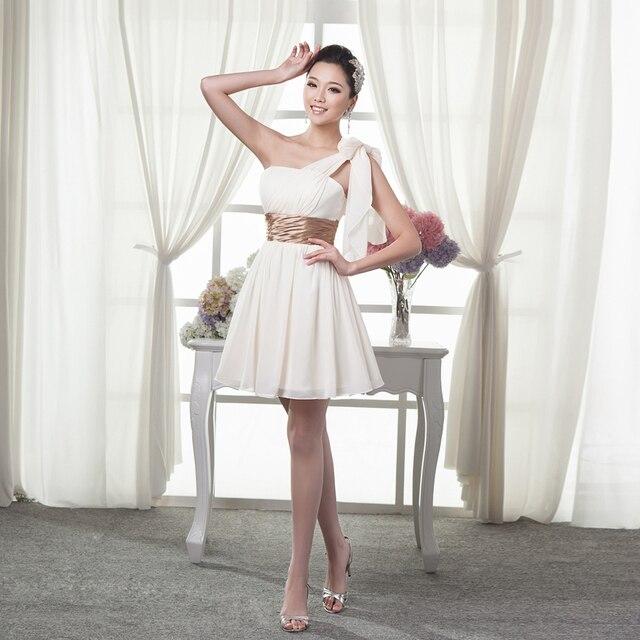Ball Lily Short One Shoulder Chiffon Bridesmaid Dresses Zipper Up Custom Made Size 2 16