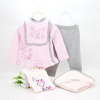2016 High Quality 5pcs Set Newborn Baby 6 24M Clothing Set Brand Baby Girl Sweet Pink