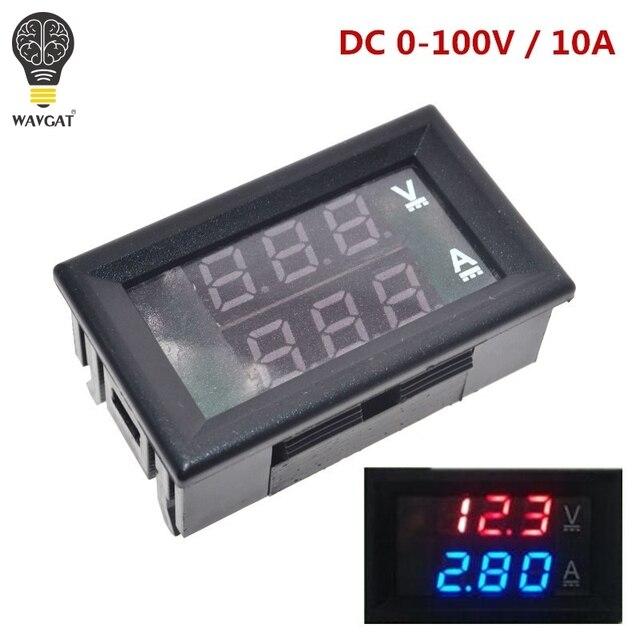 Цифровой вольтметр Амперметр постоянного тока 0 100 в 10 А, двойной дисплей, детектор напряжения, измеритель тока, панель Ампера, вольтметр, 0,28 дюйма, красный, синий светодиод