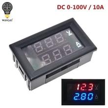 """DC 0 100V 10A voltmètre numérique ampèremètre double affichage détecteur de tension compteur de courant panneau Amp Volt Gauge 0.28 """"rouge bleu LED"""