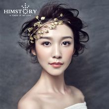 Vintage Handmade Sweety Gold Plated Leaves Hair Accessory ,Bridal Wedding Party Hair Decoration Headpiece  недорого