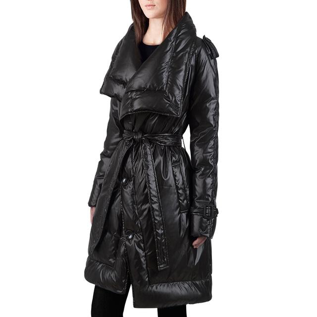 Chegada nova Preto Cinto Único Breasted Turn Down Collar da mulher Down Jacket 2017 Nova Moda Inverno do Revestimento das Mulheres T1420
