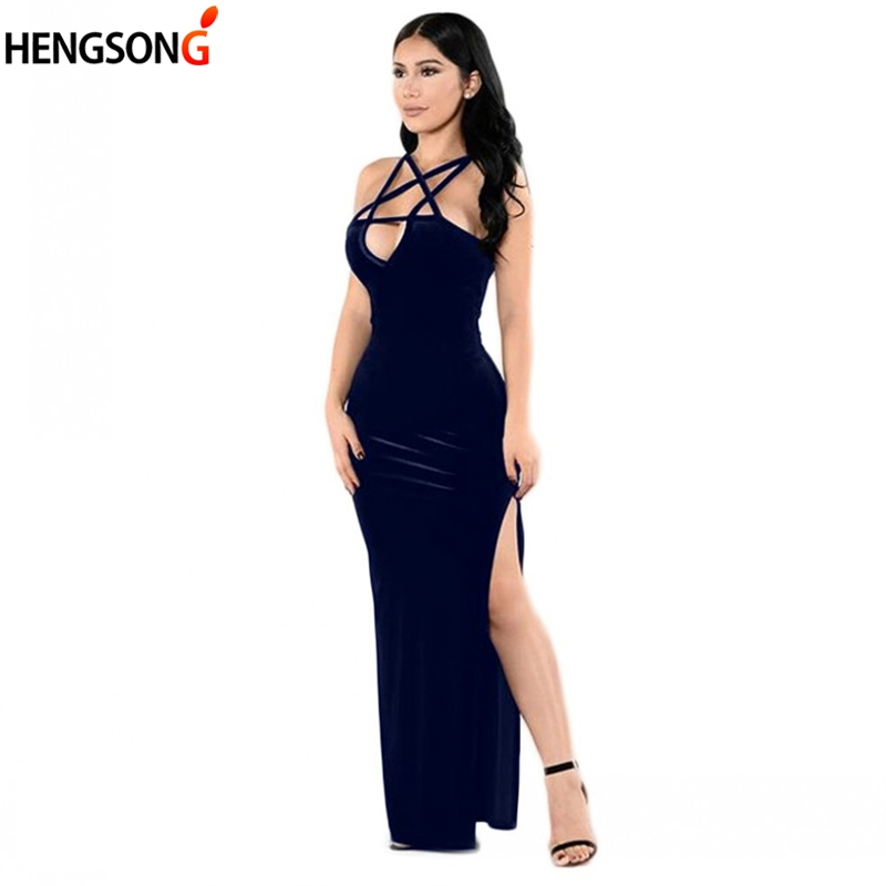 Hengsong 2018 New Arrival Women Summer Dark Blue Velvet Dress Sexy Deep V Neck Side Split Long Dress Women Party Sling Dress