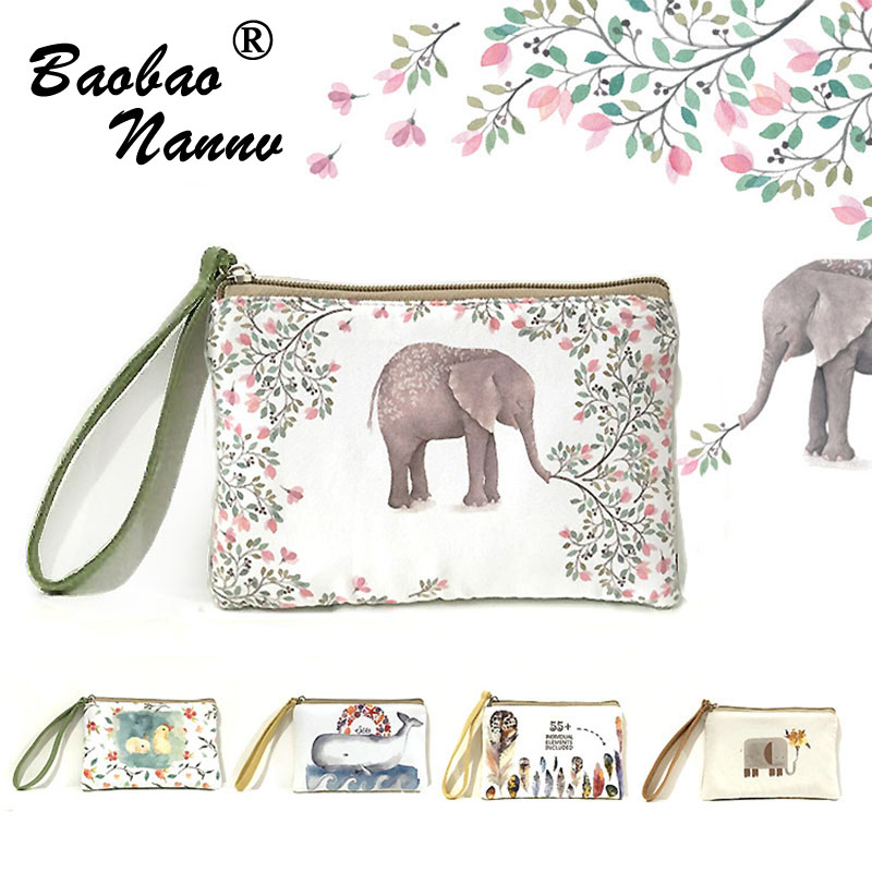 Women Literary Coin Purse Cute Wallet Long Purse Vintage Elephant Canvas Mobile phone Bag Fashion Cartoon Wallet With Clutch long wallet mobile phone canvas bag leather vintage old denim handbag and girlfriend gift