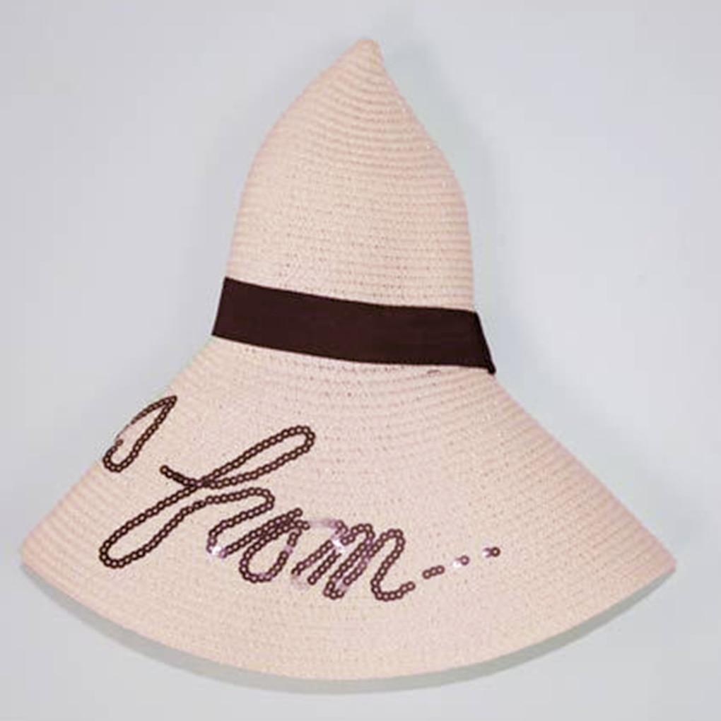 Popular Sequin Letters Women Girls Summer Wide Brim Hat Straw Braid Large Brimmed Hat Beach Sunhat Cap
