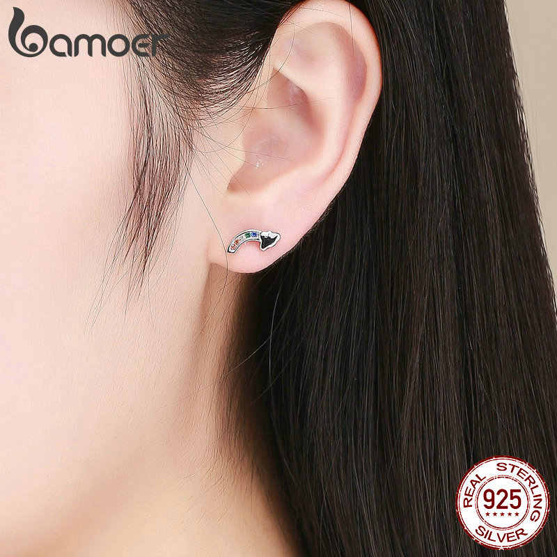 Bamoer 2019 nova authentic 925 prata esterlina colorido arco-íris e nuvem brincos para mulheres coreano orelha jóias sce500