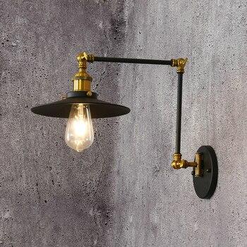 American Retro Metal Copper Holder Rotatable Lustre Wall Lamp  E27 Luminaria Wall Scones Indoor Lighting Fixtures