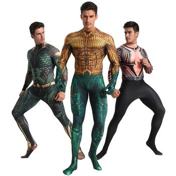 цена Deluxe Aquaman Cosplay Costume Men Arthur Curry Cosplay Zentai Bodysuit DC Superhero Halloween Costume For Adult Carnival Suit онлайн в 2017 году