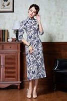 2019 summer women dresses vintage print casual long sleeve retro cotton maxi robe tunic floral big plus dress