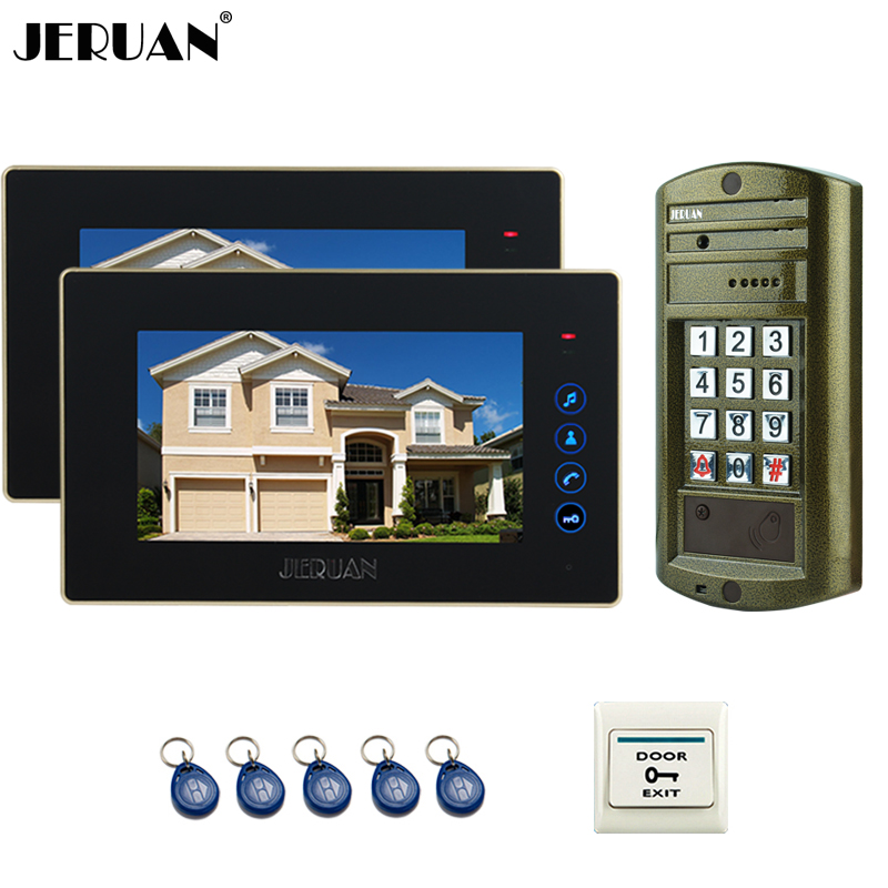 JERUAN 7`` Video Door Phone Intercom System kit 2 Black Monitor + Metal Waterproof Access Password keypad HD IR Mini Camera 1V2 jeruan home 7 inch video door phone intercom system kit new metal waterproof access password keypad hd mini camera 2 monitor