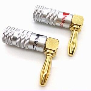 Image 2 - 8 50 sztuk HIFI kątowe wtyki bananowe pozłacane muzyczne przewód głośnikowy złącze kabla 4mm dla HiFi