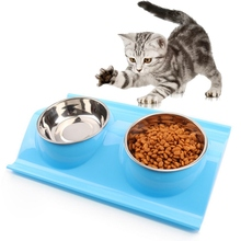 Cat Food Water Bowl Dog Cat Bowl Pet Feeder Stainless Steel Double Bowl Dispenser Feeder Utensils Tool Puppy Bowl Pet Supplies