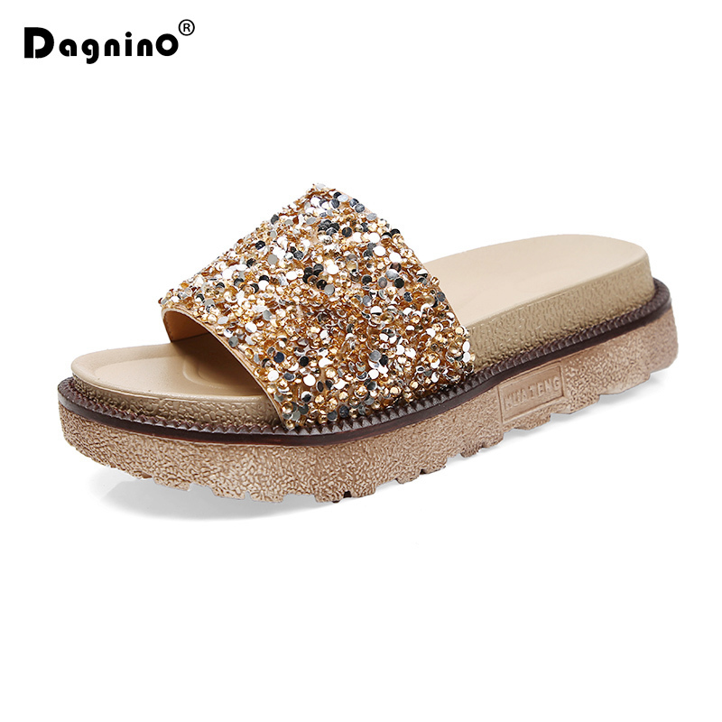 DAGNINO 2018 New Summer Platform Heels Women Flip Flops Quality Casual Shoes Woman Female Soft Shining Flat Gold Slippers phyanic 2017 gladiator sandals gold silver shoes woman summer platform wedges glitters creepers casual women shoes phy3323