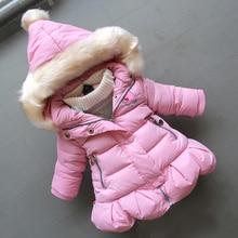 BibiCola/зимнее пуховое хлопковое пальто для маленьких девочек Модная парка с капюшоном для малышей, верхняя одежда детская зимняя Толстая зимняя куртка