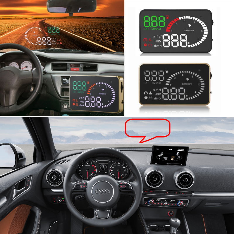 Liislee Car HUD Head Up Display For Audi A3 A4 A5 A6 Q5 Q7 - Safe Driving Screen Projector Windshield / OBD II Connector liislee car hud head up display for subaru forester xu impreza legacy outback safe screen projector obd ii connector