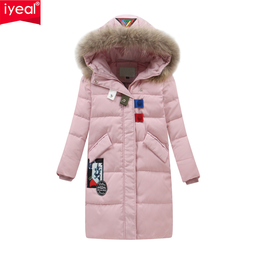 IYEAL 2017 New Kids Winter Collection Fashion White Duck Down Thick Girls Jacket Hooded Children Parkas Coats Plus Size 6-12Y  2016 new brand child girls winter white duck down jackets coats thick hooded outwar waistband kids girls warm down jacket parkas