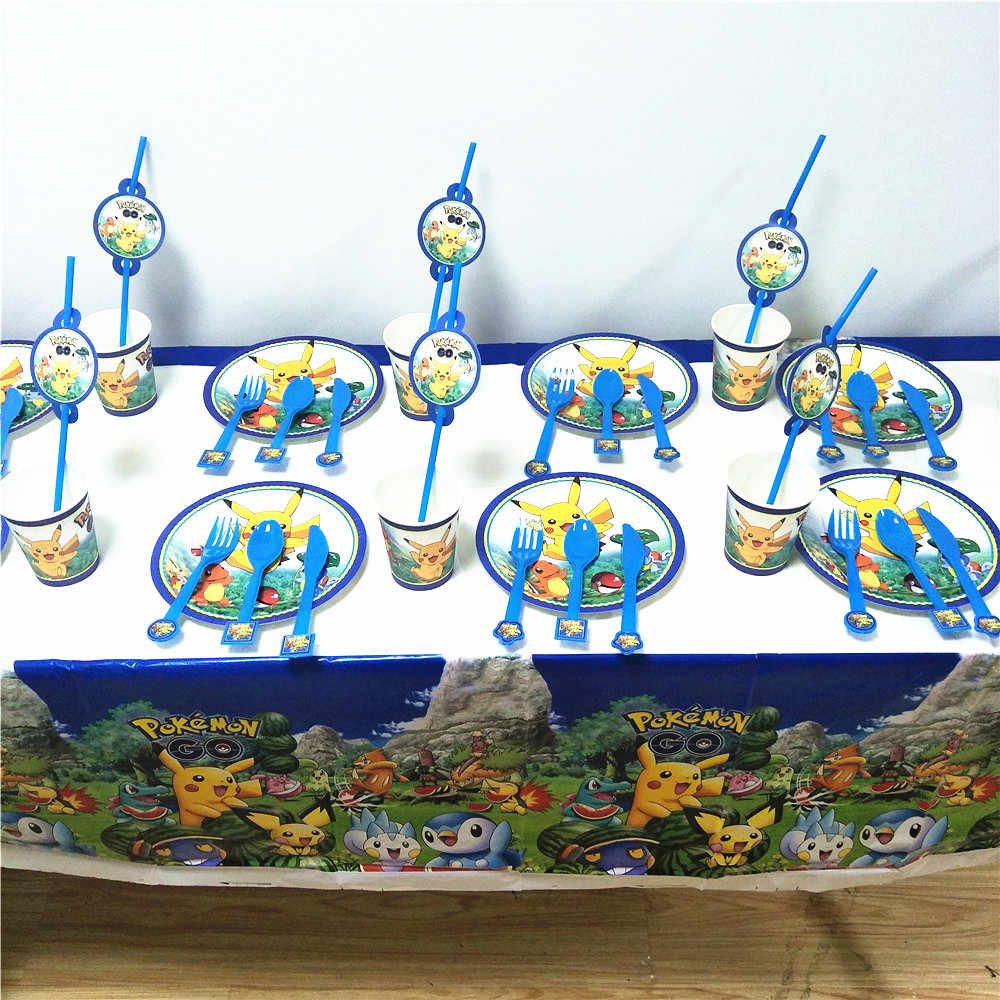 61pcs/set Pikachu GO Kids Happy Birthday Party Supplies Papercard Cup Plate Fork Spoon Plastic Tablecloth Straw Decorations