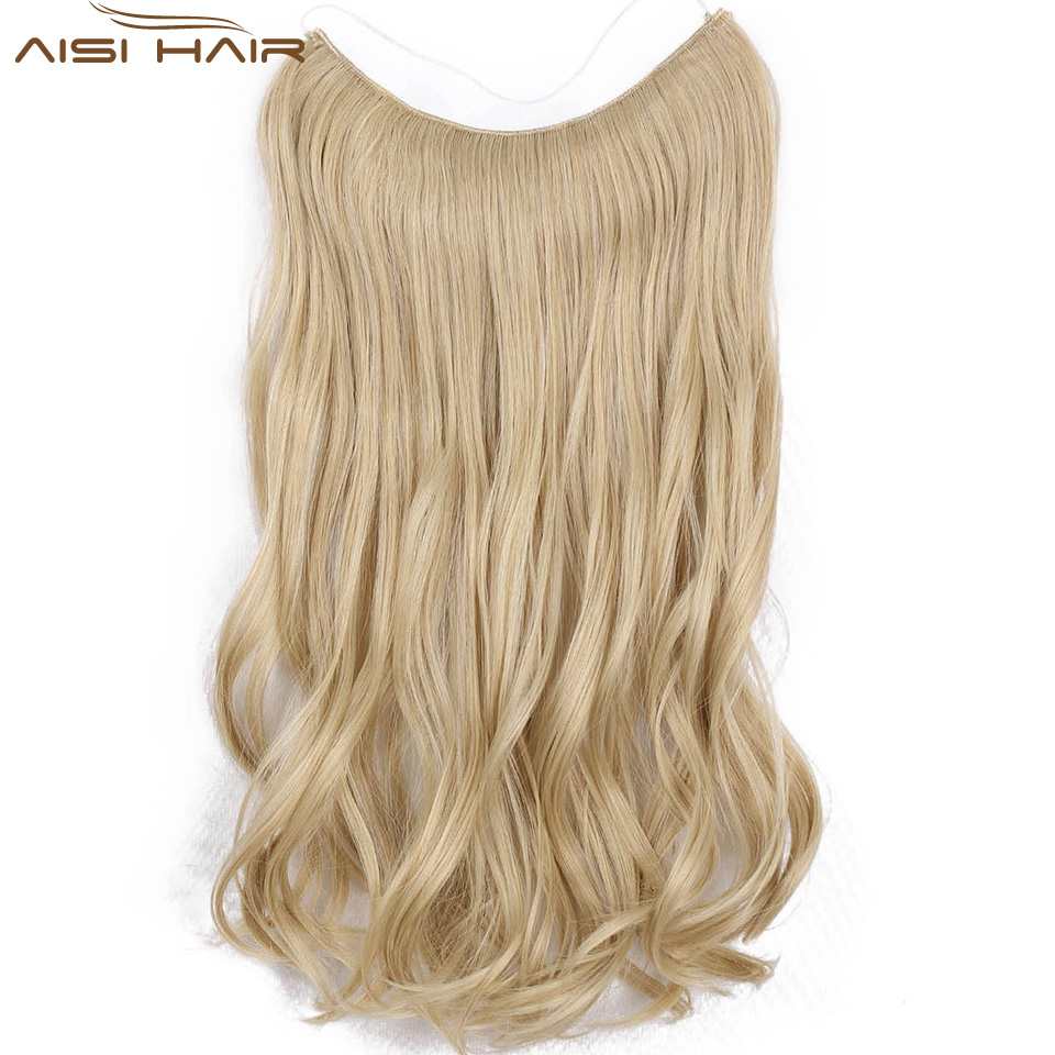 אני של פאה דגי קו נוכריות 22 ''בלתי נראה חוט אין קליפים בתוספות שיער סוד משיי ישר סינטטי שערות 100 גרם/pic