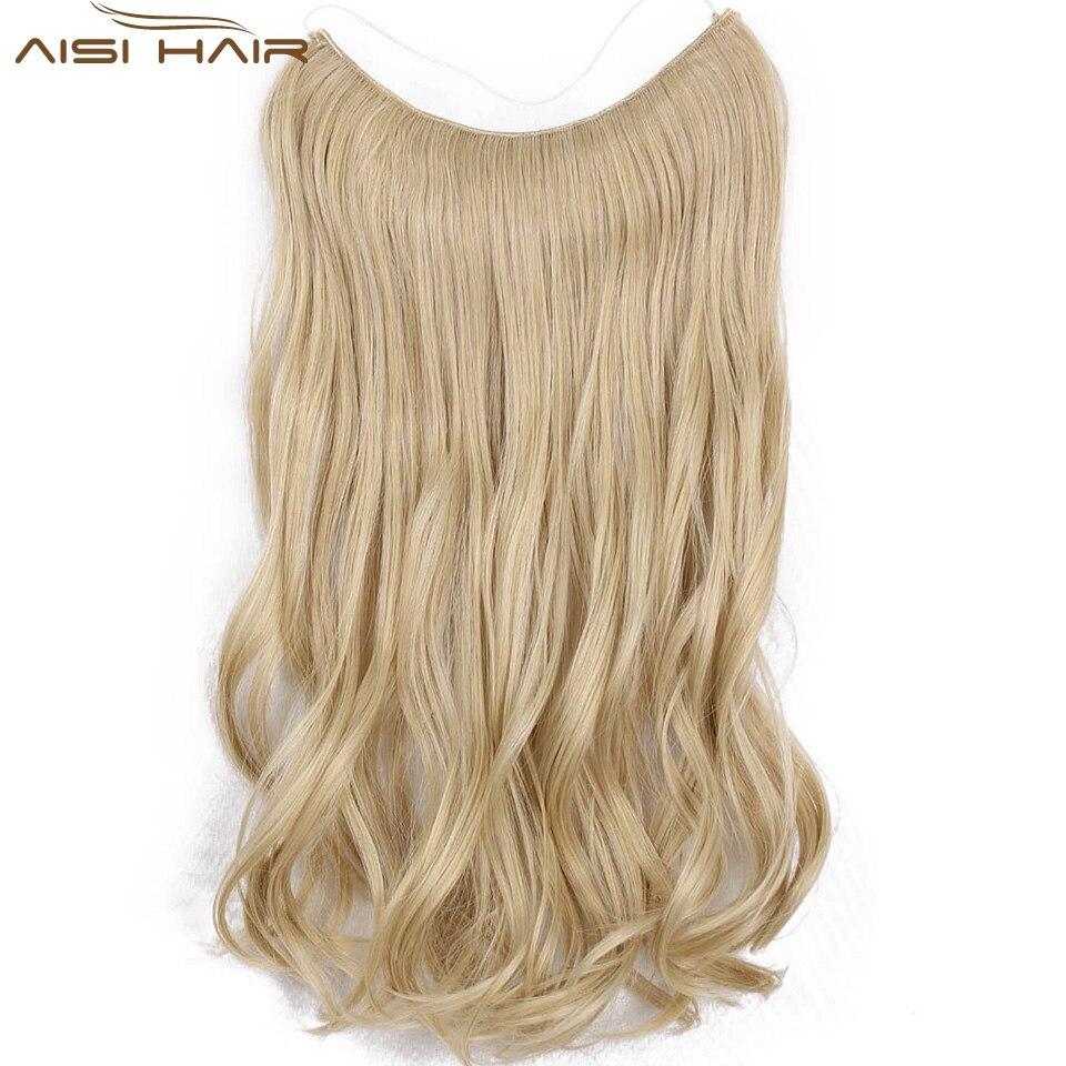 Ich Der Eine Perücke Fisch Linie Haarteile 22 unsichtbaren Draht Keine Clips In Haar Extensions Geheimnis Seidige Gerade Synthetische Haare 100g/pic Haarverlängerung Und Perücken
