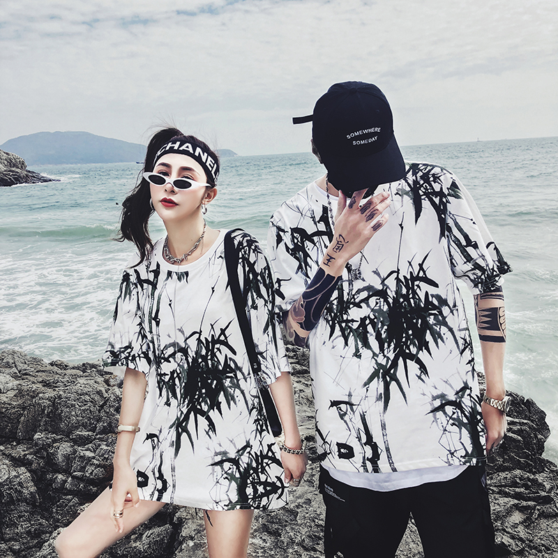 Dropshipping 2019 summer new bamboo splash ink Chinese painting short-sleeved shirt hip-hop oversized couple men women T-shirt 25