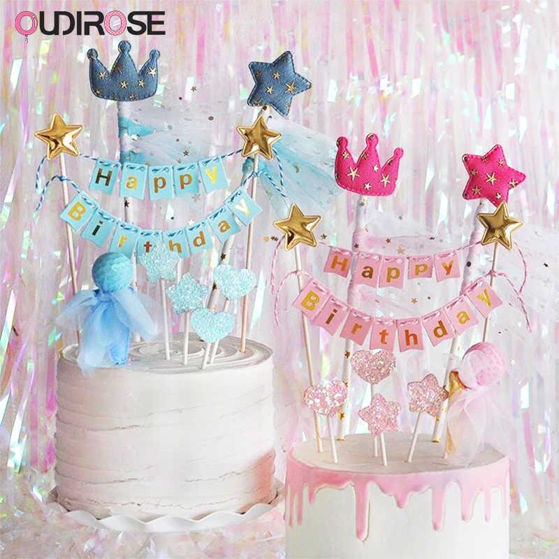Décoration de gâteau joyeux anniversaire | Pour fête d'anniversaire en famille, fête d'anniversaire pour garçon, décoration de gâteau de mariage, manteau court, haut de gâteau en or noir pour nouvel an