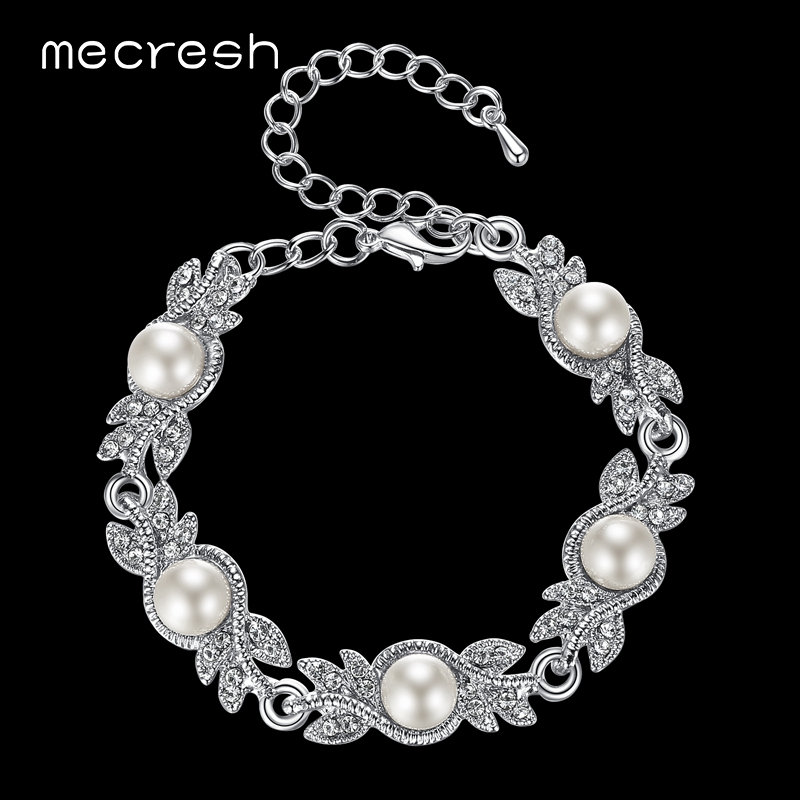 Mecresh 여성을위한 매력적인 시뮬레이션 된 진주 팔찌 Silver / Gold-Color Leaf Crystal Pulseras Mujer Femme Wedding Jewelry MSL197