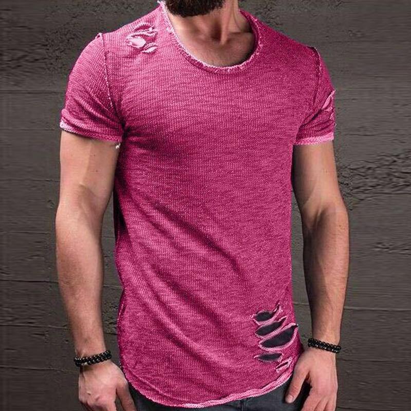2018 di Estate di Modo Vestiti Strappati Uomini Tee Foro Solido T-Shirt Slim Fit O Collo Manica Corta Muscolare Casual Top in Jersey T Shirt