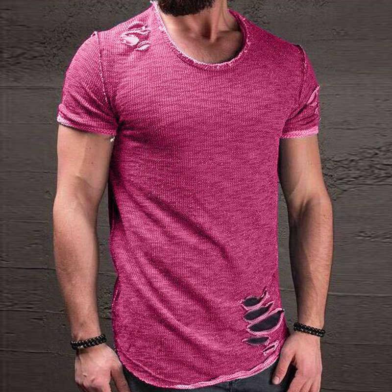2018ファッション夏破れ服男性ティー穴固体tシャツスリムフィットoネック半袖筋肉カジュアルジャージトップスtシャツ