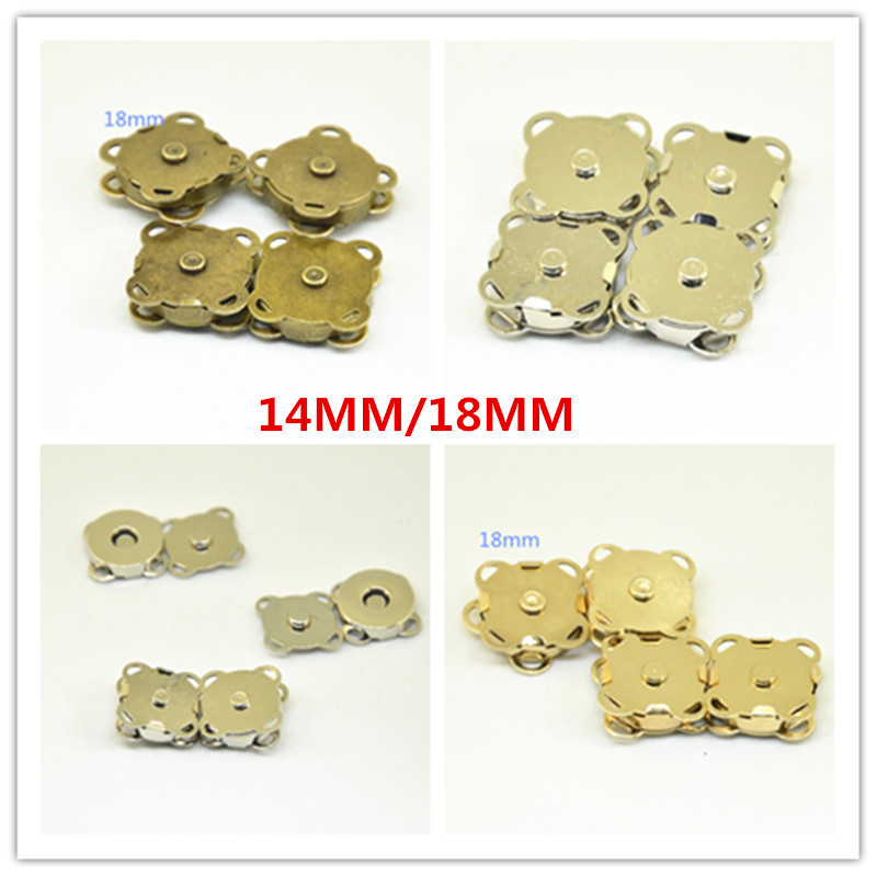 100pcs 14mm/18mm gold/silver/antique bronze Metal Snap Fasteners Press Button Closure for overcoat bag DIY Sewing Accessories-in Buttons from Home & Garden    1