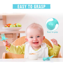 Baby Spoon Fork Self Feeding Utensils First Training Baby Eating Supplies BPA Free, Baby Led Weaning for 6+ Month Baby Toddler baby led weaning