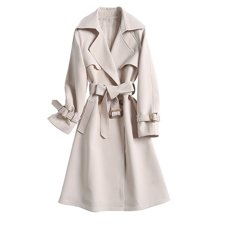 Fashion Ladies   Trench   Coat 2019 Autumn New Slim Double-Breasted Long coat Womens windbreaker Russian style Casual Women overcoat