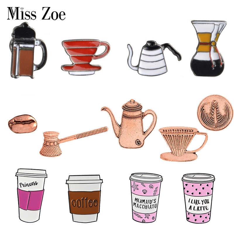 Semua Tentang Kopi Enamel Pin Kopi Pot Piala Latte Cappuccino Bros Tas Kerah Pin Pakaian Lencana Perhiasan Hadiah untuk barista