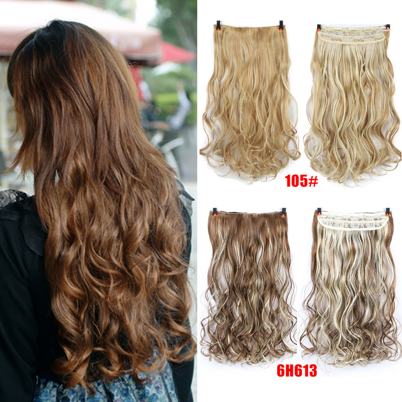AOSIWIG 5 Clip In Hair Extension Heat Resistant Fake Hairpieces Long Wavy Hairstyles Synthetic Clip In On Hair Extensions