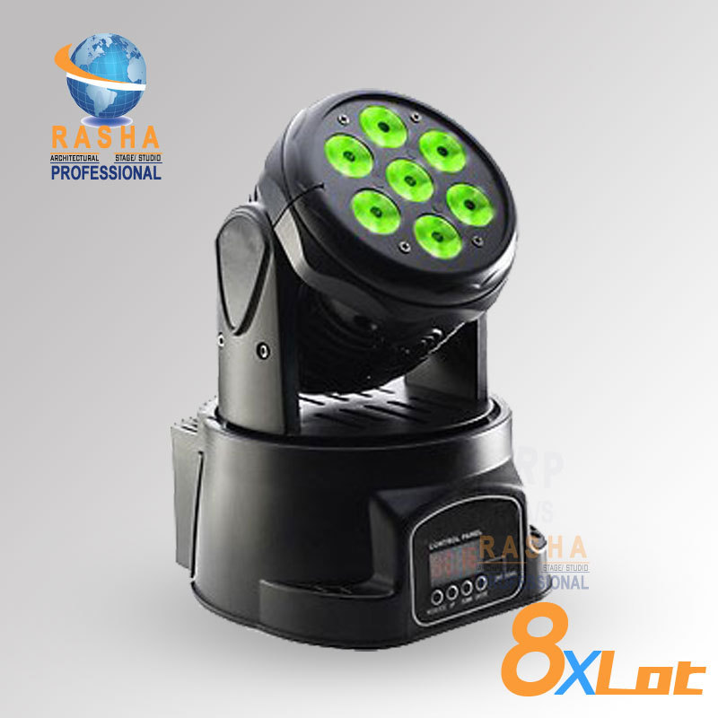 8X LOT Factory Price Rasha 7pcs*12W 4IN1 RGBW MINI LED Moving Head Wash Light,ED Moving Head For Event,Disco Party