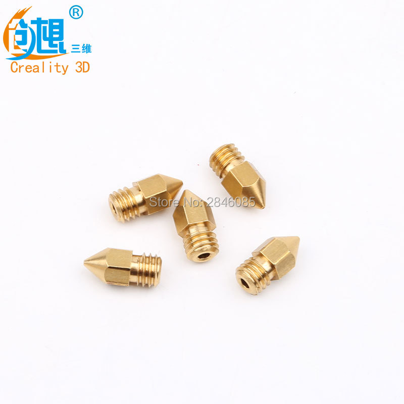 5pcs/lot 3D Printer Nozzle Mixed Size 0.2mm/0.3mm/0.4mm/0.5mm/0.6mm For 1.75mm Extruder Print Head Brass Nozzle MK8 Makerbot