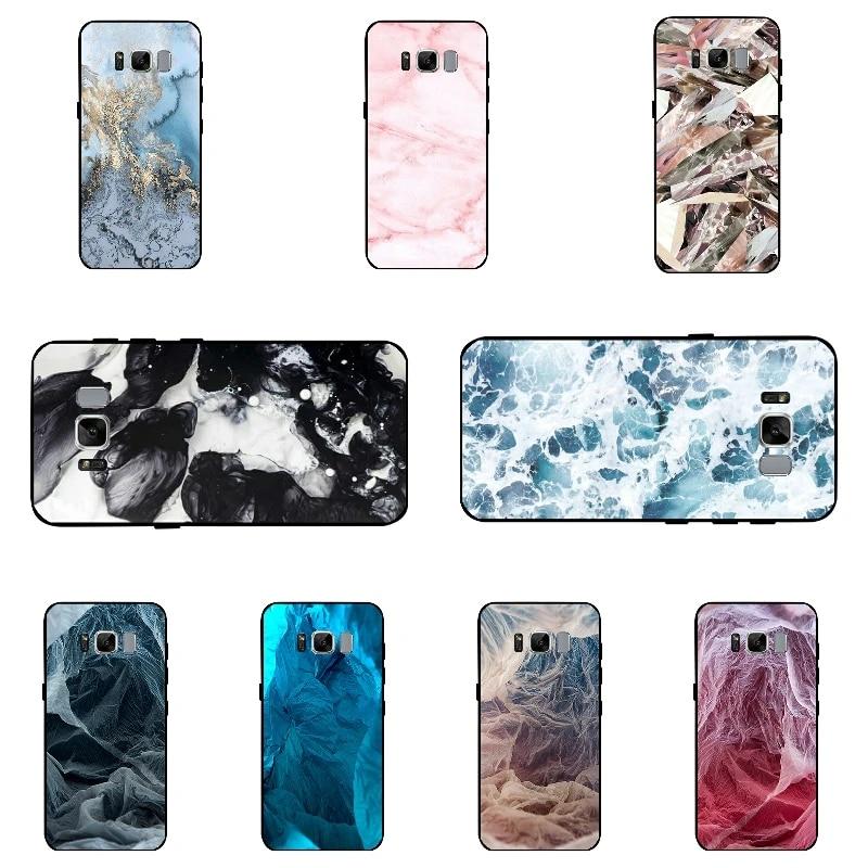Pour Samsung Galaxy S8/S8 Plus bricolage Coque de téléphone complet noir doux TPU pour Galaxy S8 Plus couverture Ultra mince en marbre motif Coque