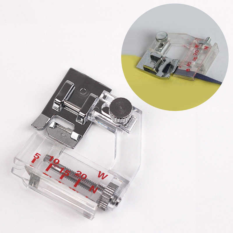 1Pc Adjustable Cloth Edge Presser Foot for Sewing Machine Transparent Scale Sewing Foot  Household Sewing Machine Accessories