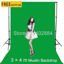 цена на photographic equipment 3m x 4m 100% Cotton Chromakey Green Screen Muslin Background Backdrop
