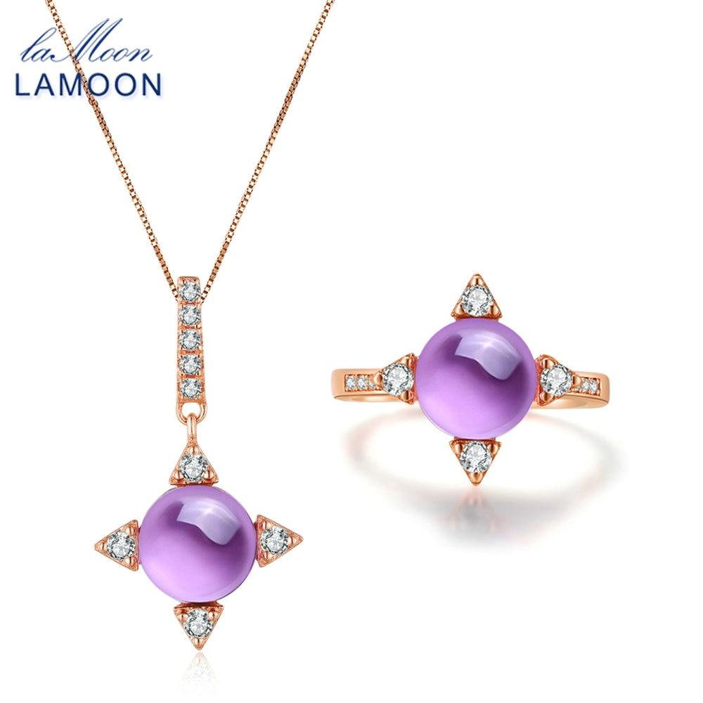 LAMOON Shine Star Rose Gold Jewelry Set 2.2ct Natrual Amethyst 925 - Նուրբ զարդեր
