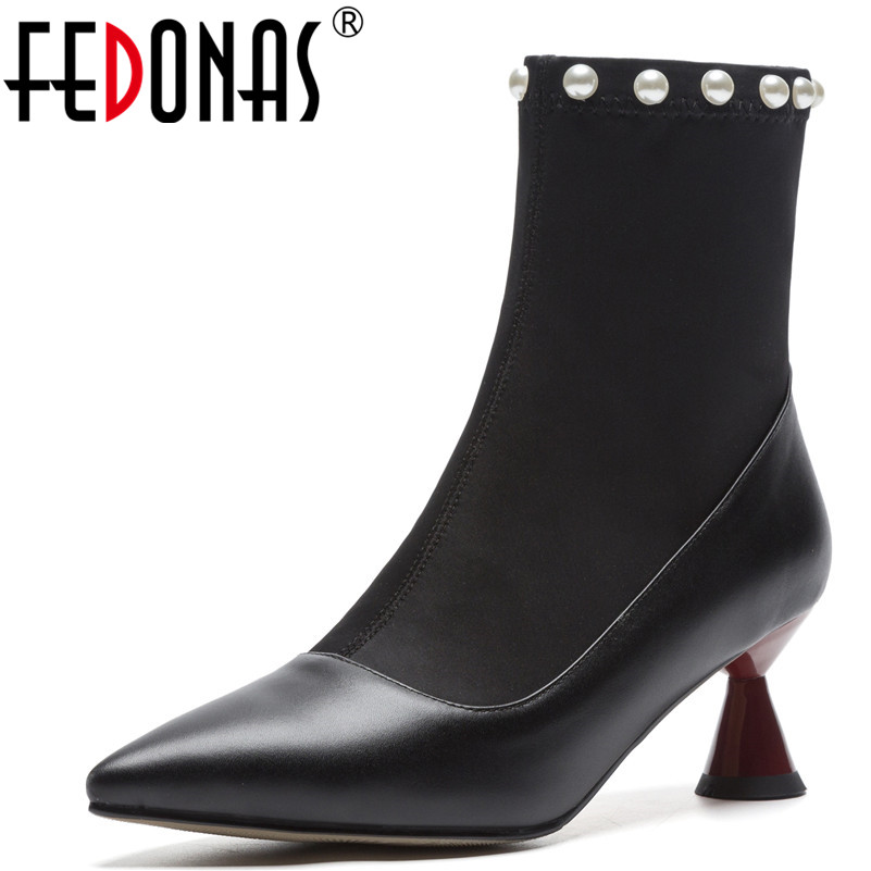 FEDONAS Fashion Women Ankle Boots Genuine Leather Autumn Winter Warm High Heels Shoes Pearl Party Dancing Shoes Woman High Boots fedonas fashion women winter ankle boots high heels zipper genuine leather shoes woman dress party riding boots warm snow boots