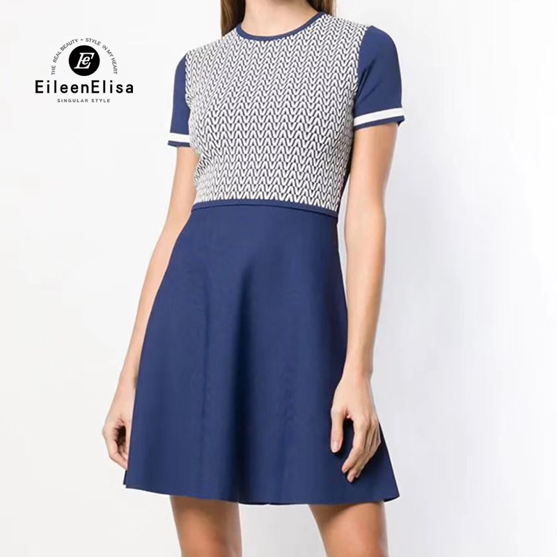 Spring Knit Dress Women Short Sleeve Dress Elegant Women A Line Dresses Female Vestidos Casual