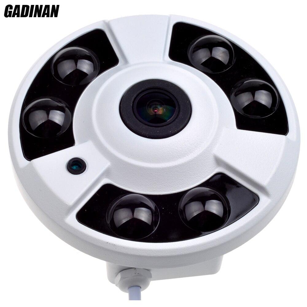 GADINAN H.265 H.264 1080 P 5MP 1.7mm Lentille Fish Eye 6 pcs puissant Réseau Panoramique Caméra IP Onvif 2.0 Détecteur de Mouvement XMeye P2P