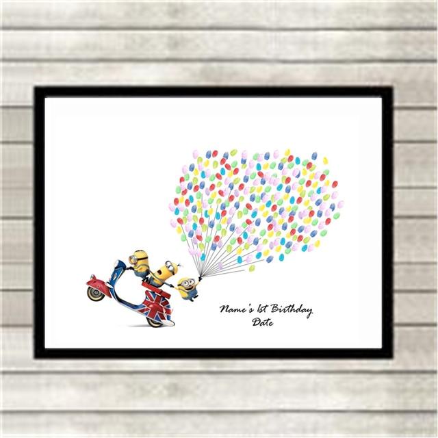 Dibujos Animados huella digital firma globo invitado libro no marco ...