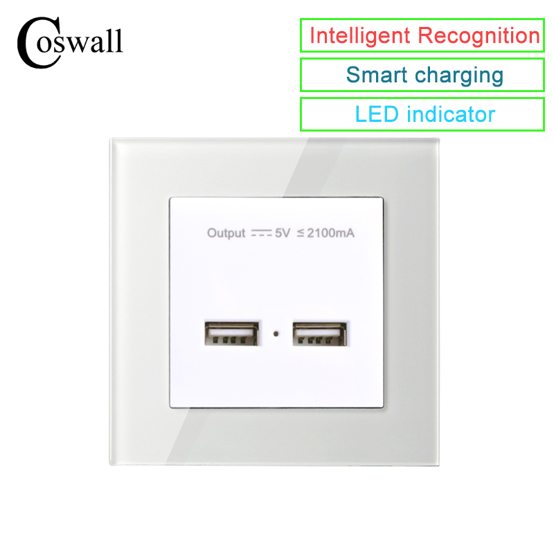 COSWALL Wall Power Socket Dual USB Smart Induction Charging Port For Mobile 5V 2.1A Output Crystal Tempered Glass PanelCOSWALL Wall Power Socket Dual USB Smart Induction Charging Port For Mobile 5V 2.1A Output Crystal Tempered Glass Panel