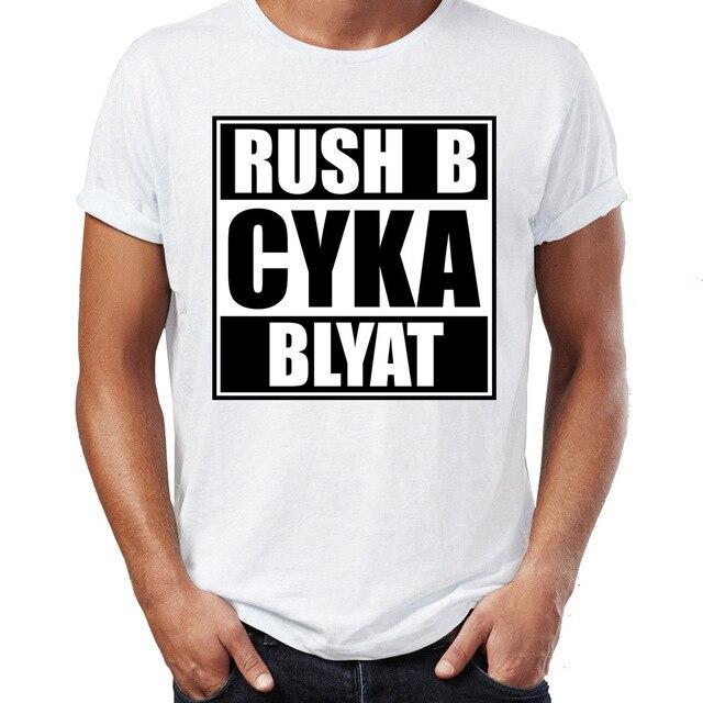 Men's T Shirt Russian Gamer Cyka Blyat Rush B Cs Go Funny Artsy Tee